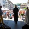 Predigten von (von links) Johannes Wirth, Prediger der Gemeinschaft von Christen GvC, Pfr. Thomas Plaz-Lutz von der Stadtkirche und Pfr. Hugo Gehring von St. Peter und Paul.